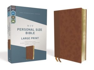 Niv, Personal Size Bible, Large Print, Leathersoft, Brown, Red Letter Edition, Comfort Print