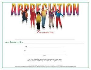 Certificate of Appreciation, Children's Teacher, Leader, or Helper (Package of 6): Jumping for Joy