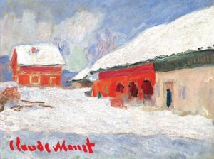 Monet Red Barns in Norway Boxed Holiday Full Notecards