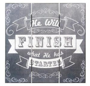 Home Decor Mdf Chalk Print He Will Finish 12 X 12