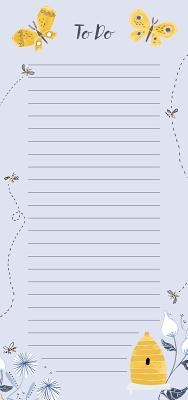 Bees and Butterflies Vertical List Pad