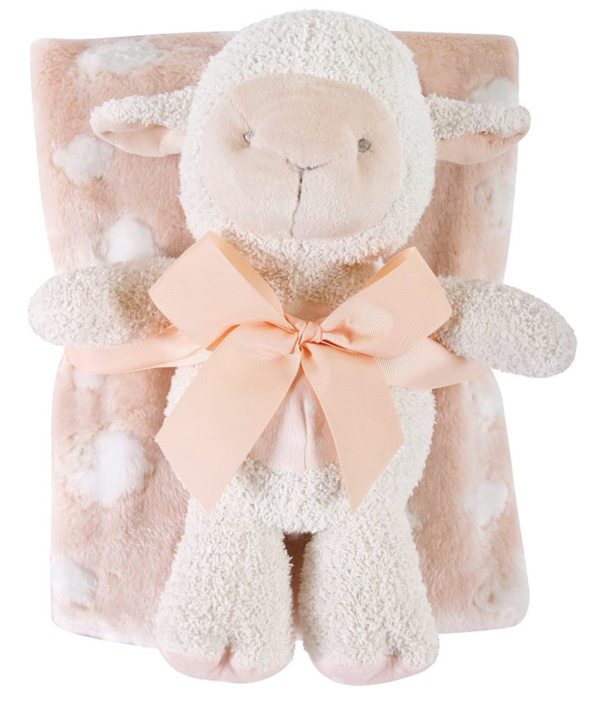 Snuggle Fleece Crib Blanket and Plush Toy Set (Pink Lamb)